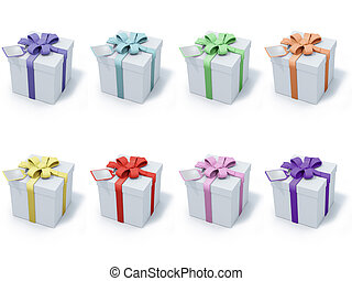 eight present boxes with different colors ribbons and labels...