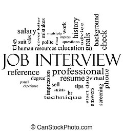 Job Interview Word Cloud Concept in Black and White - Job...