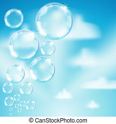 soap bubbles on heaven background - soap bubbles on heaven...