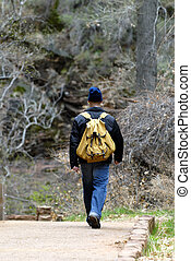 Hiker with Backpack - Hiker with backpack walking in the...