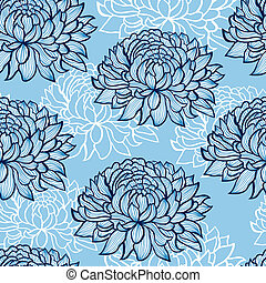 abstract hand drawn chrysanthemums - Vector illustration of...