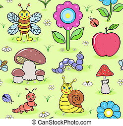 cute insects on summer meadow - Vector illustration of...
