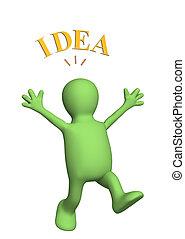 Idea - Happy 3d puppet, lit up by idea