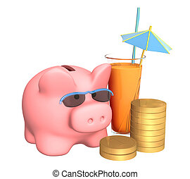 Accumulation on holiday - Piggy bank, cocktail and coins....