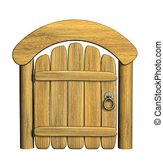 Closed wooden door - Closed ancient wooden door. Object over...