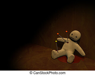 3d voodoo doll - Dark series - voodoo doll, pierced with...