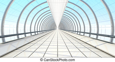endless vanishing walkway with transparent wall in cool...