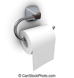 Toilet paper isolated on white. 3d rendered image