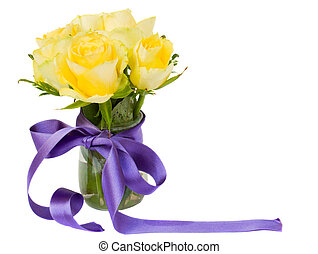 yellow roses posy with purple ribbon isolated on white...