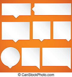 Paper Speech Bubbles - Set of paper speech bubbles isolated...