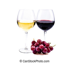 pair of wine glasses with red and white wine isolated over...