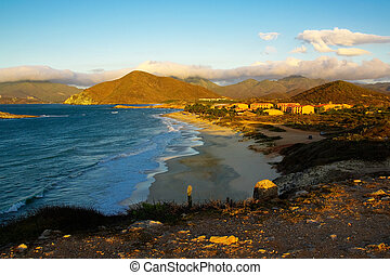 Bay at Isla de Margarita in sunset time - Bay at Island,...