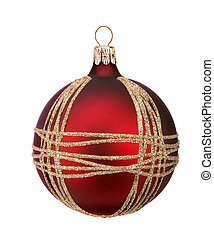 Christmas red ball, isolated on white background