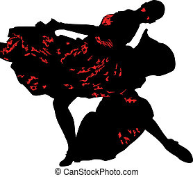 silhouette and girl in the pose of dance - a silhouette and...