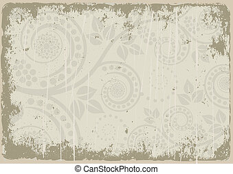 dirty background with floral ornaments