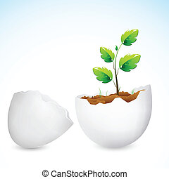 Sapling growing in Egg Shell - illustration of plant sapling...