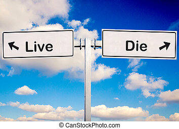 Live or die sign over the sky