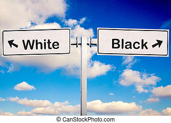 White or black - White or Black sign over the sky