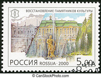 RUSSIA - 2000: shows restoration of the palaces of Petrodvorets,