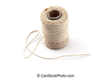 Ball of string or twine on a plain white background