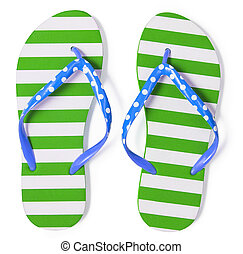 Green flip flops isolated on white with clipping path...