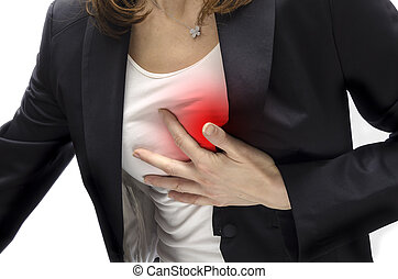 Heart attack - Woman having a heart attack