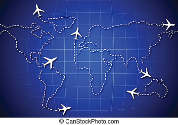 World Route - illustration of flying jet drawing world map