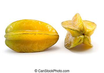 Carambola - Two carambola fruits on white background