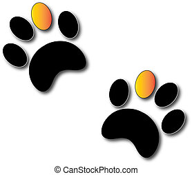 Paw Print with Gold Toe
