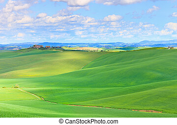 Tuscany, Crete Senesi country landscape, Italy, Europe. Rolling Hills, green fields with sunlight, blue sky partially cloudy and a farm with cypresses tree in a row.