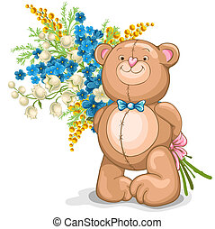 Teddy Bear toy - Cute illustration of Teddy Bear with a...