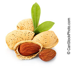 Almonds with kernels isolated on white background