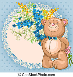 Teddy Bear toy - Cute background with Teddy Bear which hold...