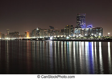 Abu Dhabi skyline at night, United Arab Emirates