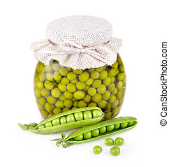 Glass jar of preserved peas and pods isolated on white...