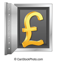 bank safe and gold british pound symbol - Bank safe with...