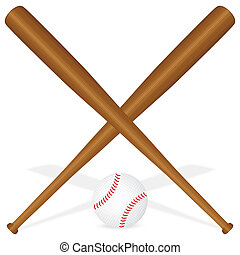 baseball bats and ball - Baseball bats and ball on a white...