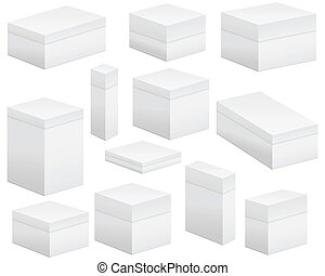 Blank boxs - Paper box set on white background. Vector...