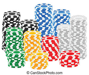 casino chips stack - Stack chips on a white background....