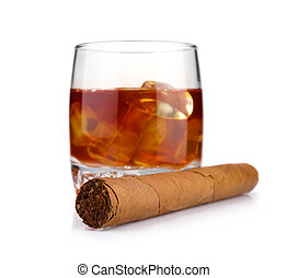 Cigar and glass of whiskey with ice concept isolated on...