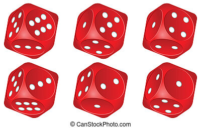 dice set 2 - Red dice set on white background Vector...