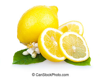 Yellow lemon fruits with leaves and slices isolated on white...