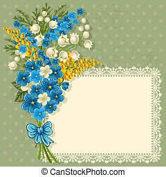 Cute greeting card with bouquet of spring flowers and place...