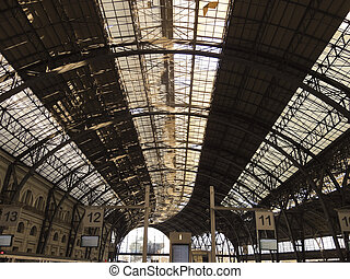 Structure and roof of the train station. Barcelona. Art...