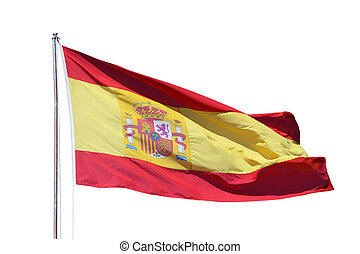 Spanish national flag isoliert over white background