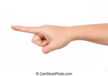 Index Finger Pointing Forward - Index finger touching or...