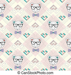 Hipster polar bear seamless pattern