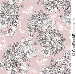 Seamless floral pattern. Background with flowers and...