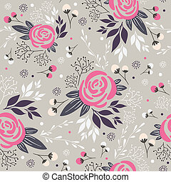 Seamless floral pattern Background with flowers, leafs and...