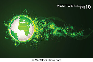 Glowing Earth - illustration of glowing orbit around earth...